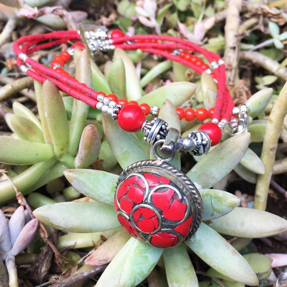 Exclusive Design - Natural Coral Tibetan Necklace - 2