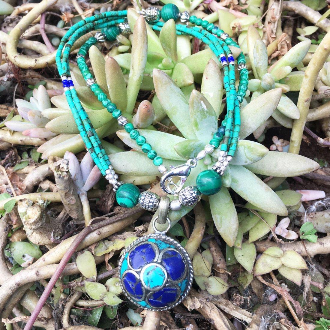 Bohemian Turquoise & Lapis vintage Necklace
