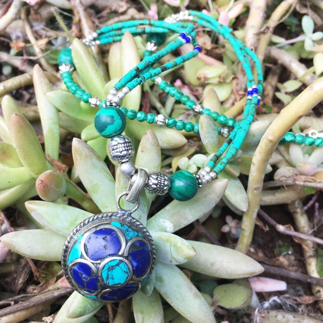 Bohemian Turquoise & Lapis vintage Necklace - 2