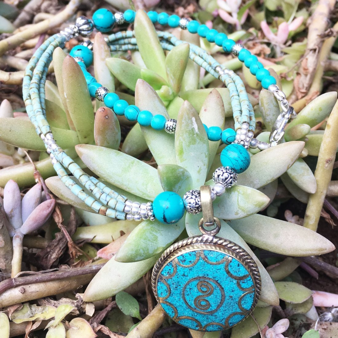Ethnic Tibetan Turquoise & Coral Mexican Necklace