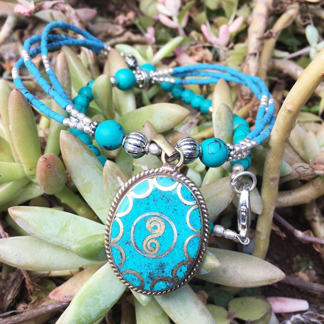 Tibetan Turquoise Unique Handmade Necklace - 2