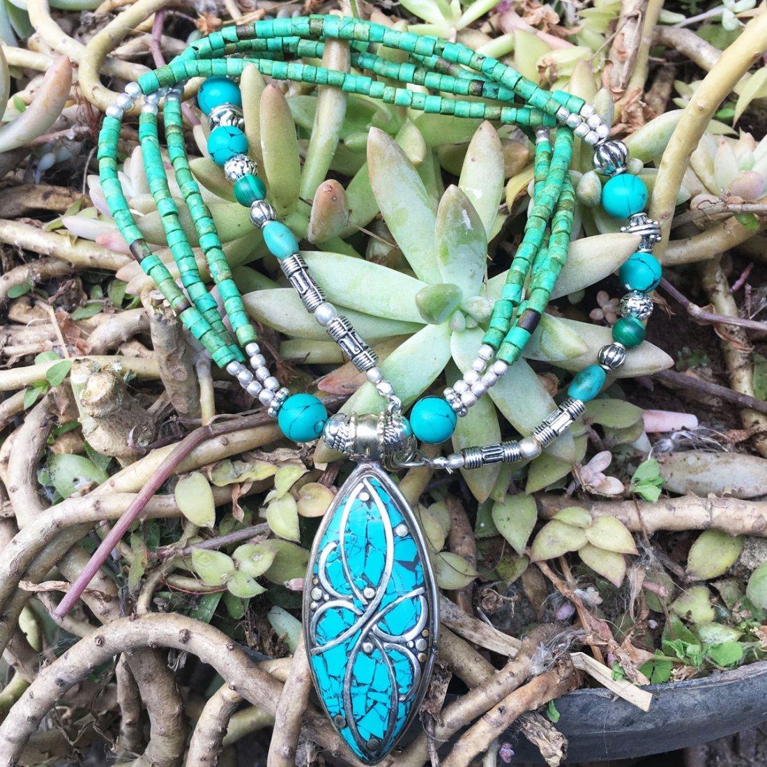 Tibetan Turquoise & Coral Handmade Necklace