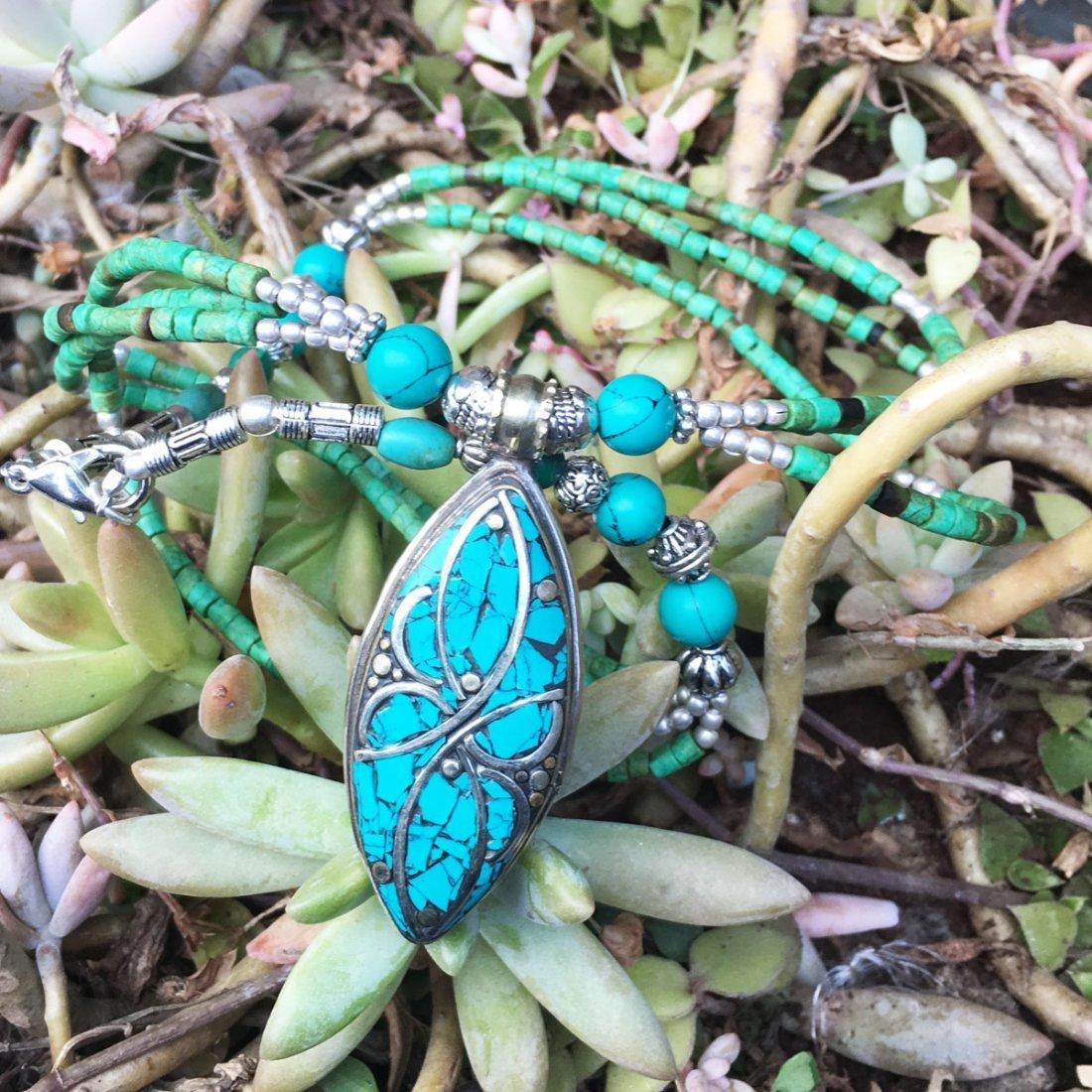 Tibetan Turquoise & Coral Handmade Necklace - 2