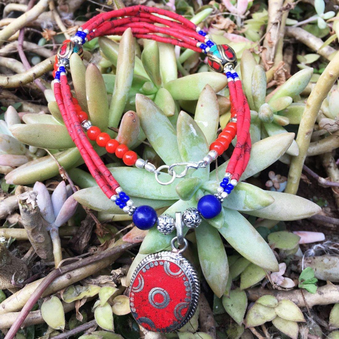 Gypsy Tibetan Designer Coral Necklace