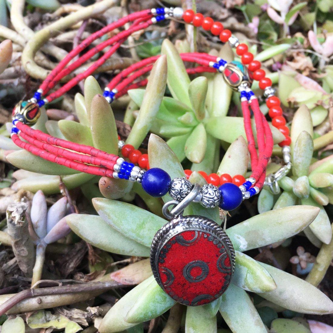 Gypsy Tibetan Designer Coral Necklace - 2