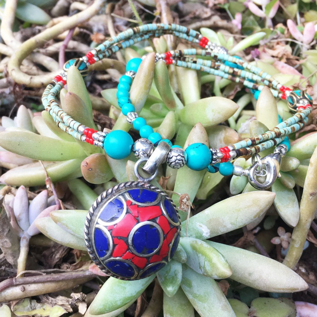 Turquoise & Coral Tibetan Handmade Necklace - 2