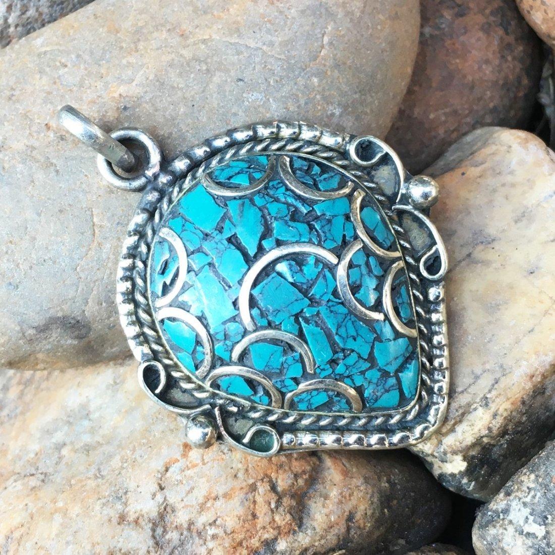 Tibetan Turquoise Statement Handmade Pendant
