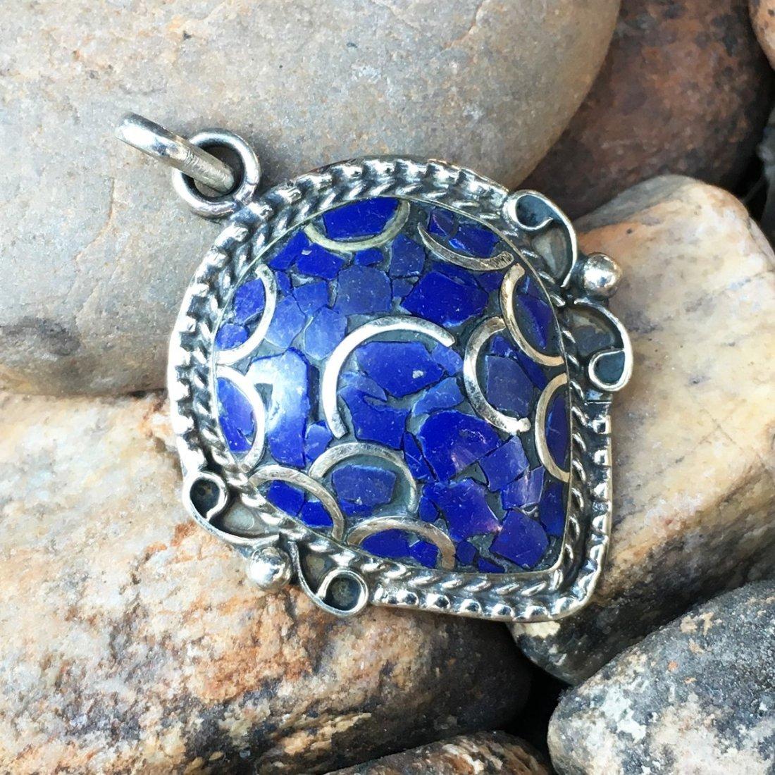 Natural Lapis Tibetan Silver Handmade Pendant