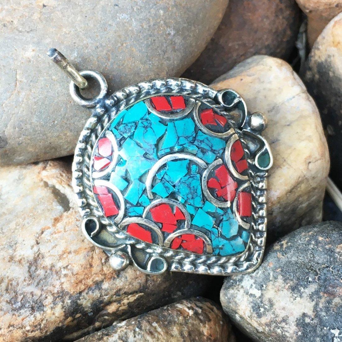 Tibetan Vintage Turquoise & Coral Pendant