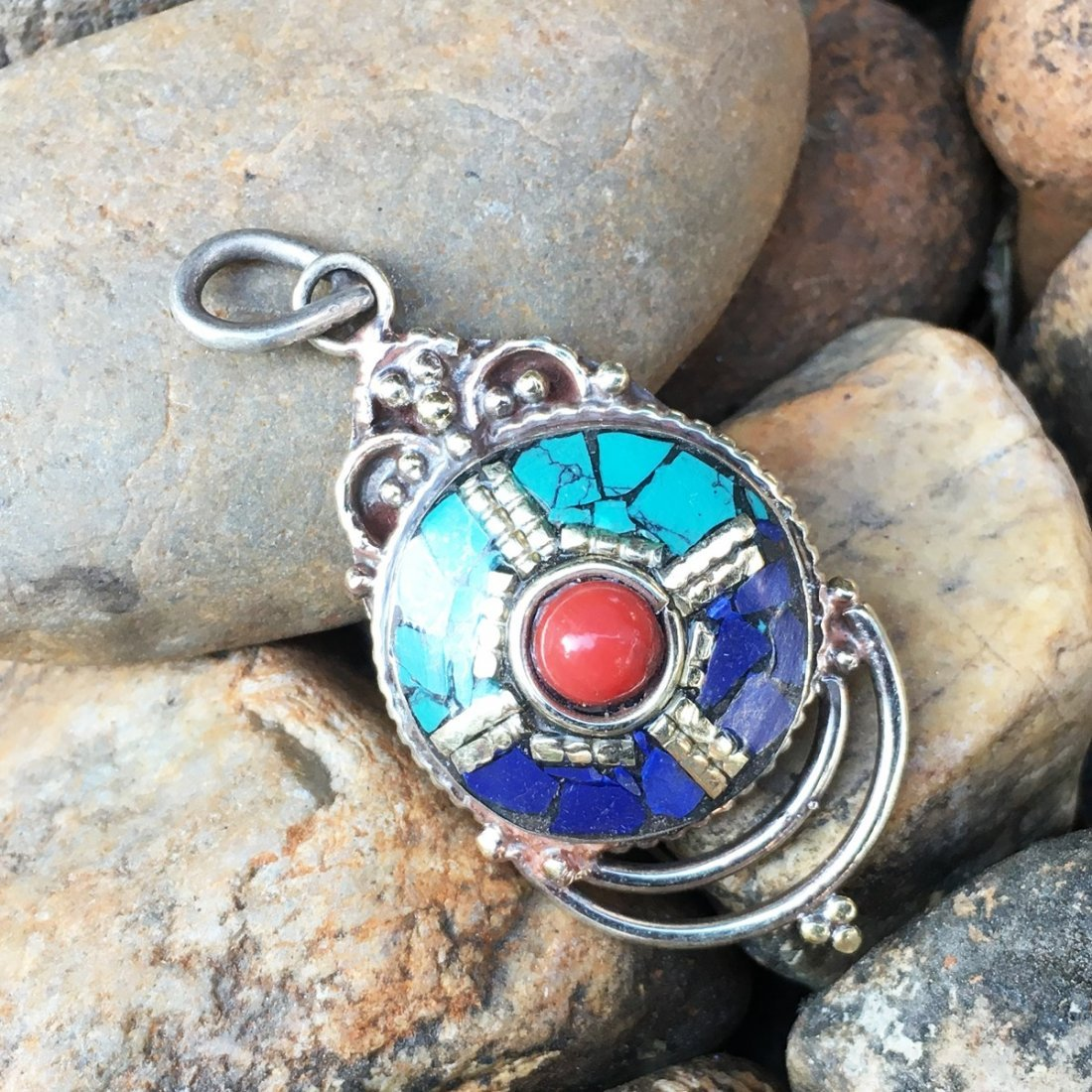 Turquoise & Lapis Tibetan Silver Handmade Pendant