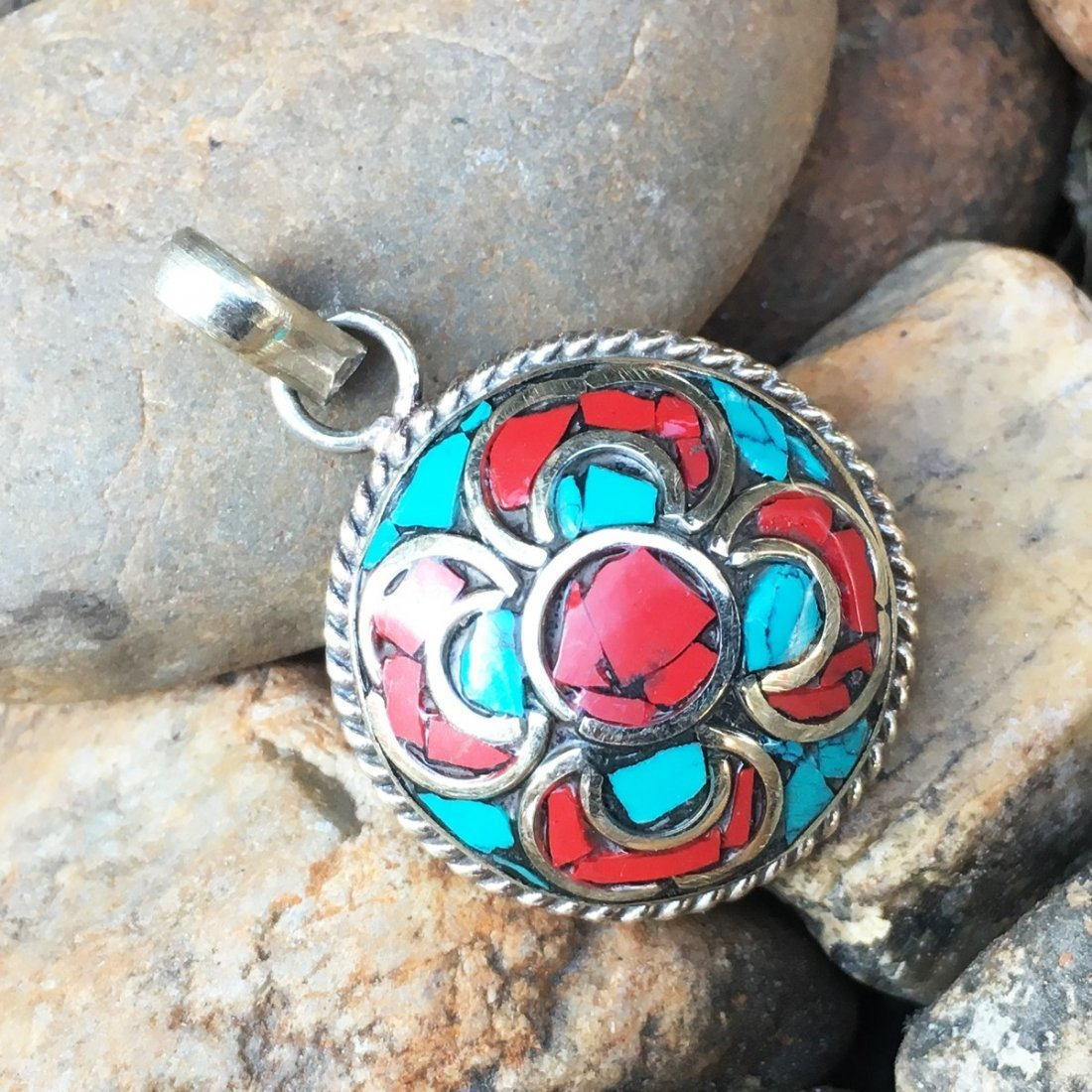 Natural Turquoise With Coral Beads Pendant