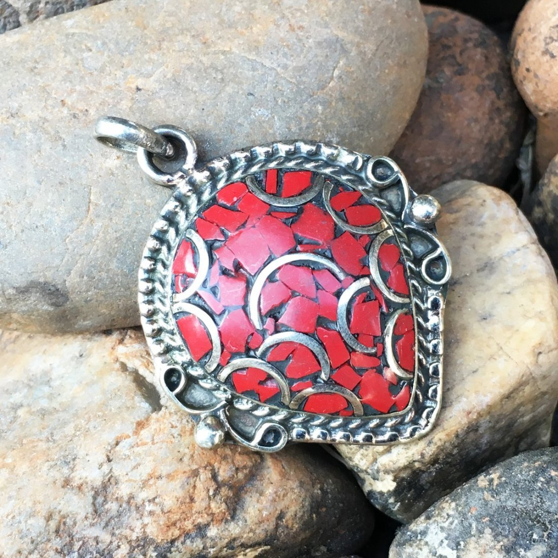 Traditional Vintage Coral Handmade Pendant