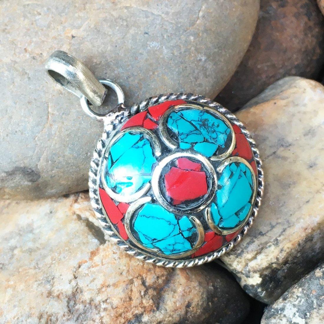 Handmade Tibetan Turquoise & Coral Pendant