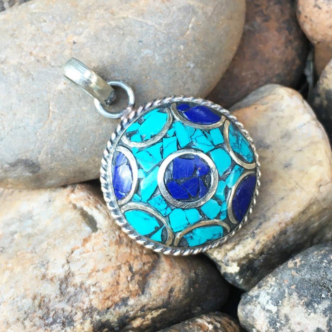 Nepalese Turquoise & Coral Gemstone Pendant