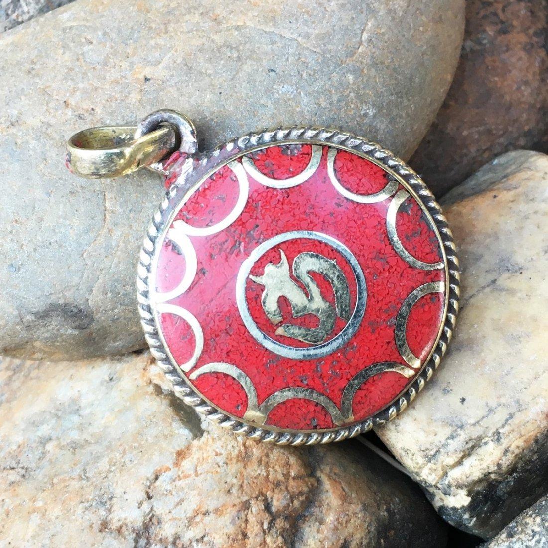 Gypsy Tibetan Designer Coral Handmade Pendant