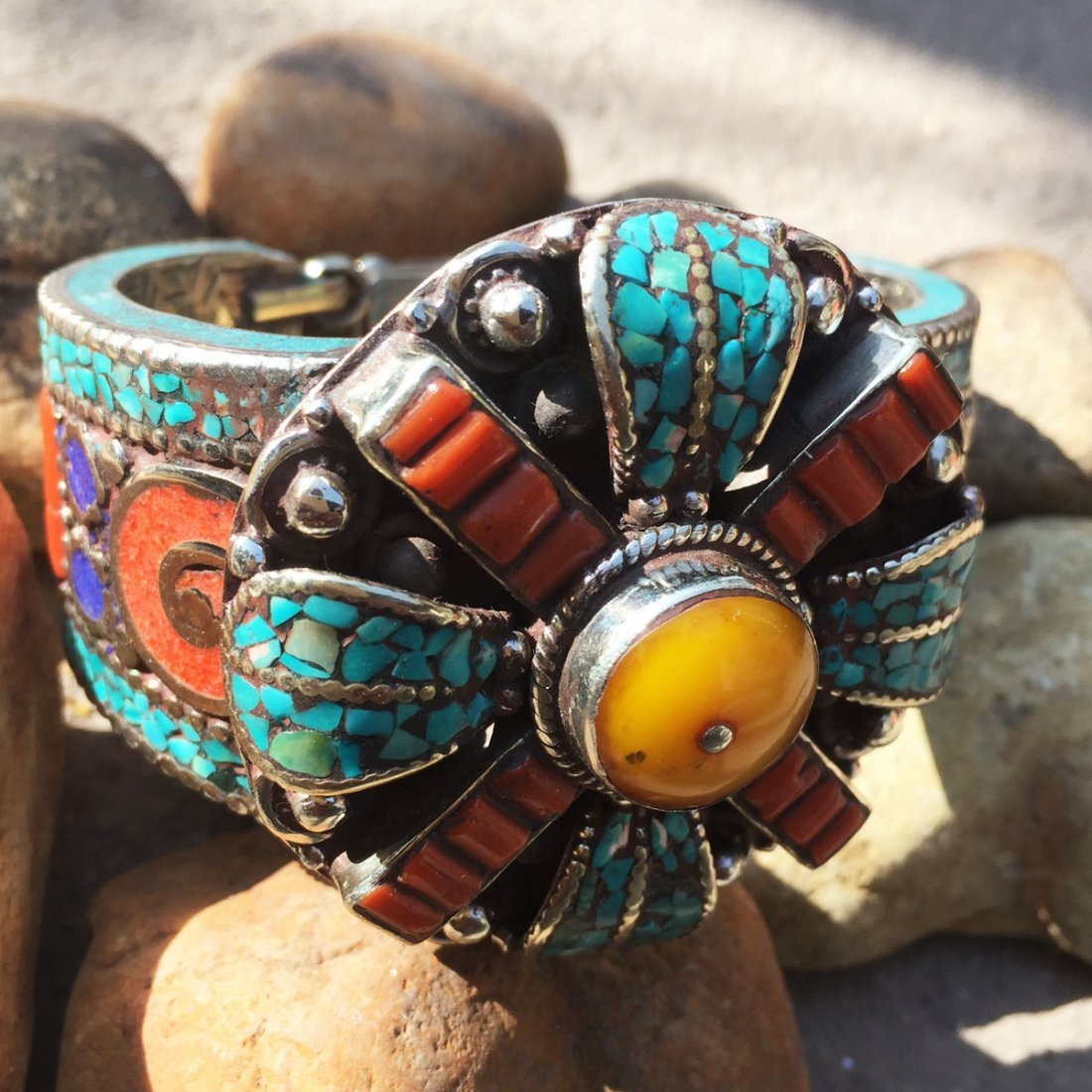 Turquoise & Amber Antique Boho Bangle