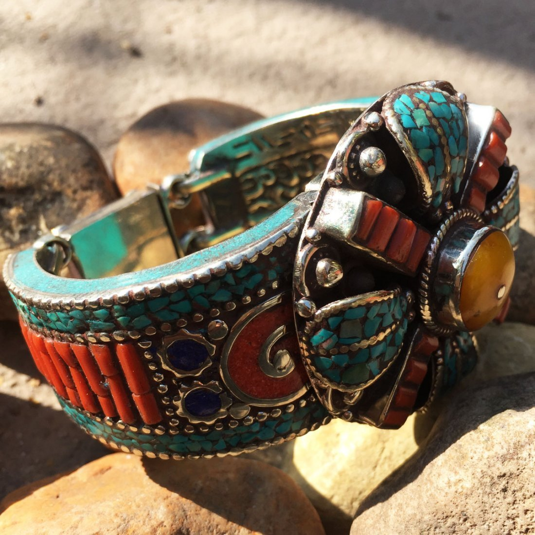 Turquoise & Amber Antique Boho Bangle - 2