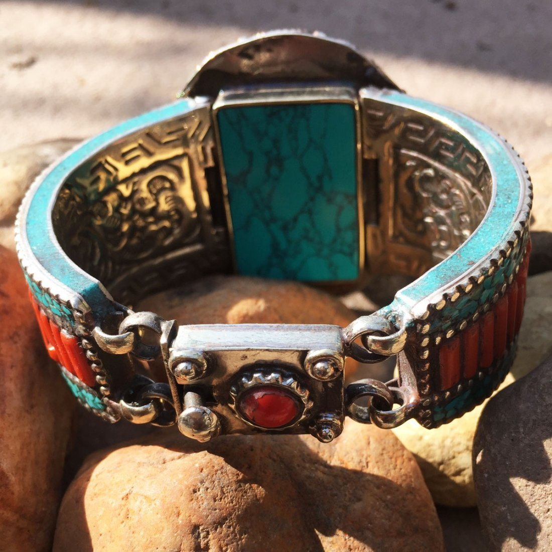 Turquoise & Amber Antique Boho Bangle - 3