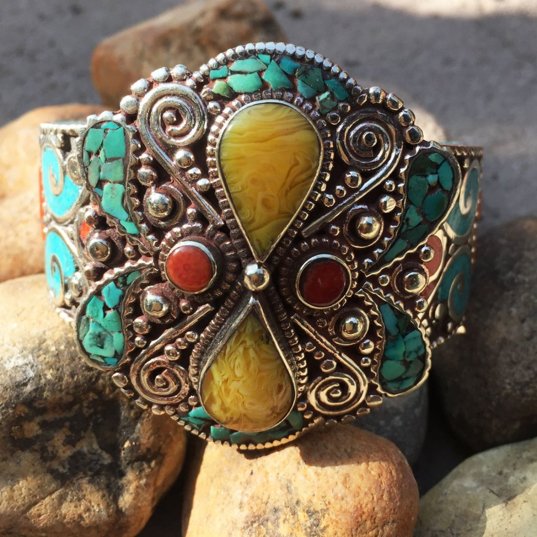 Traditional Turquoise & Amber Antique Bangle