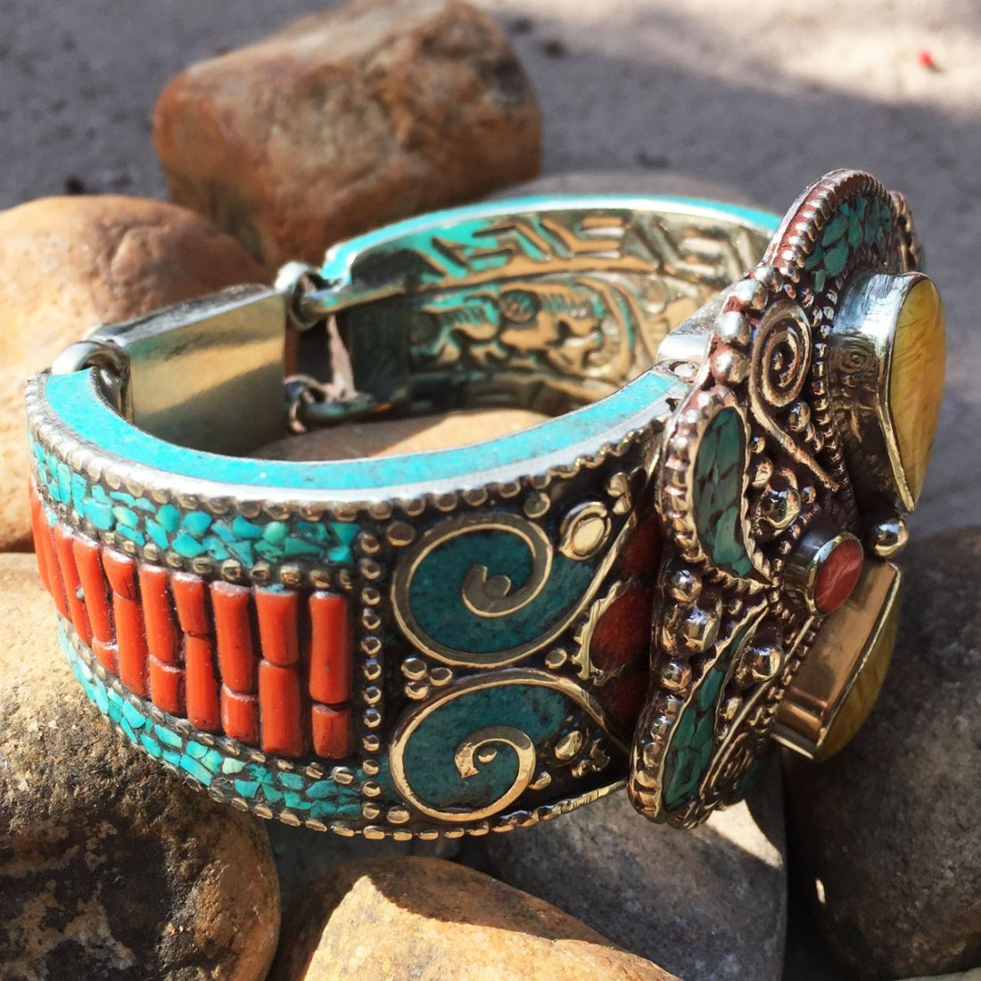 Traditional Turquoise & Amber Antique Bangle - 2