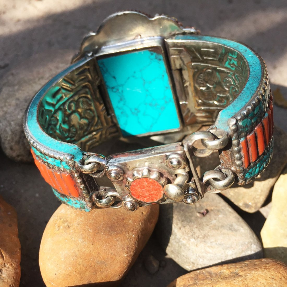 Traditional Turquoise & Amber Antique Bangle - 3