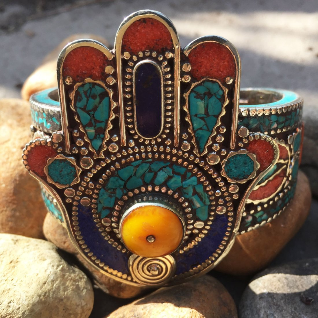 Vintage Turquoise & Amber Antique Handmade Bangle