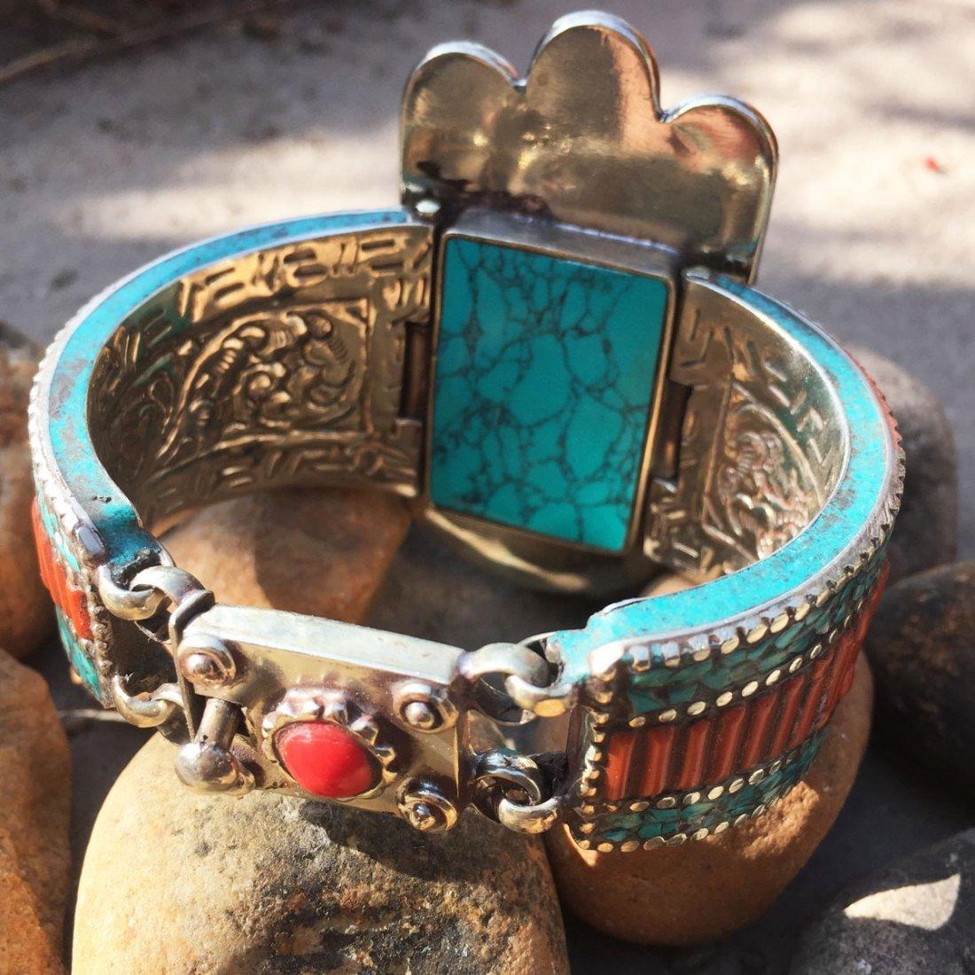 Vintage Turquoise & Amber Antique Handmade Bangle - 3