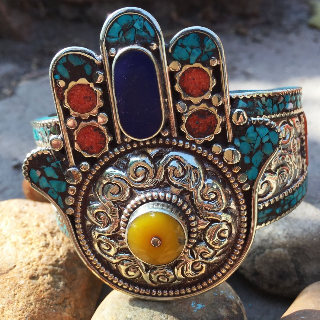 Turquoise & Amber Antique Handmade Fatima Hand Bangle
