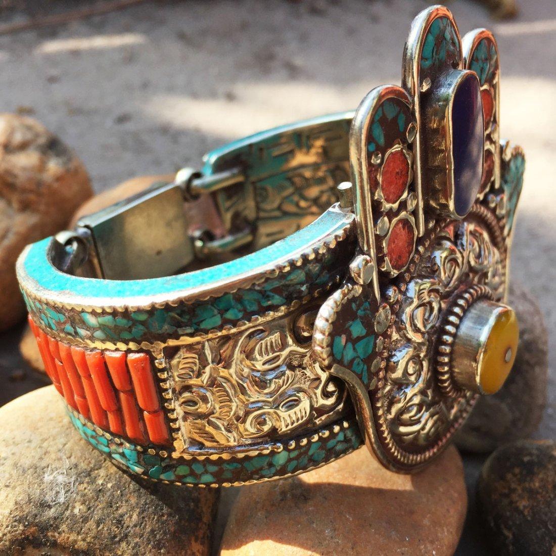 Turquoise & Amber Antique Handmade Fatima Hand Bangle - 2