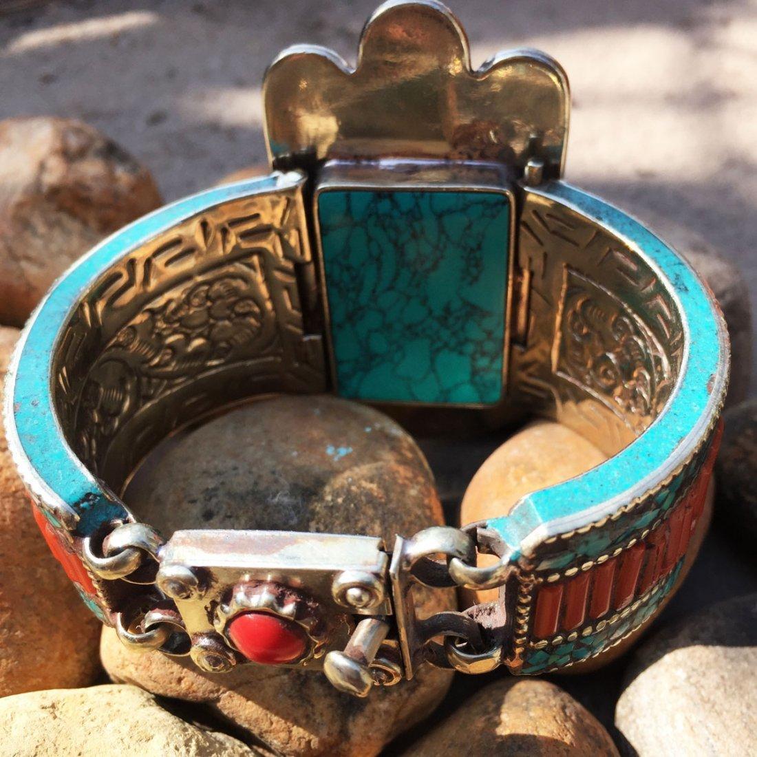 Turquoise & Amber Antique Handmade Fatima Hand Bangle - 3