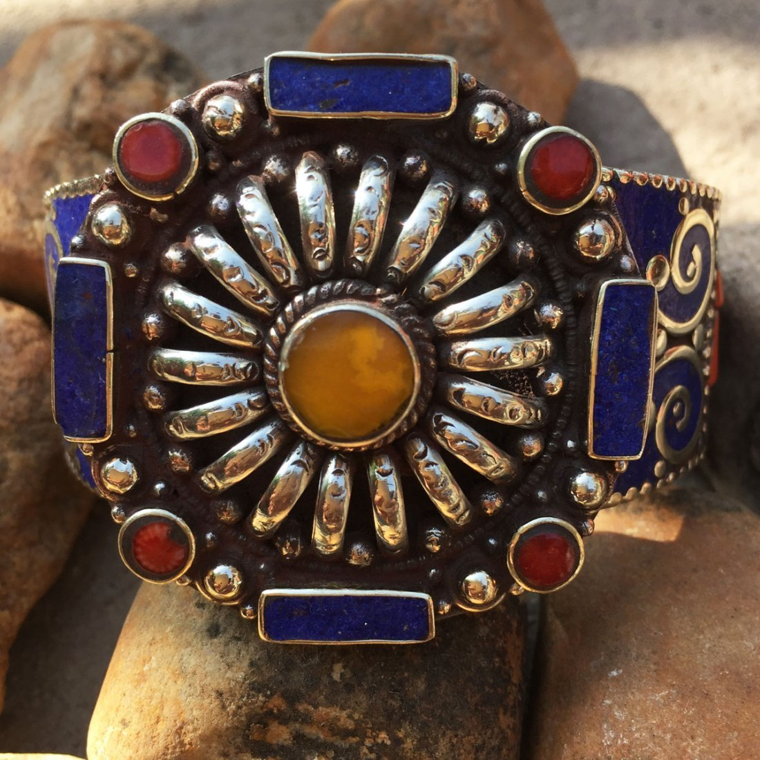 Traditional Tibetan Turquoise, Amber & Coral Bangle