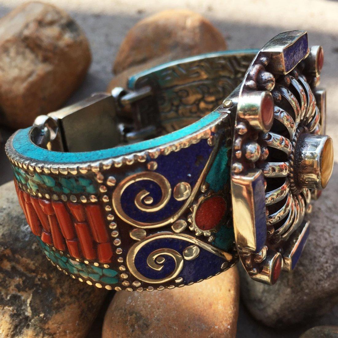 Traditional Tibetan Turquoise, Amber & Coral Bangle - 2