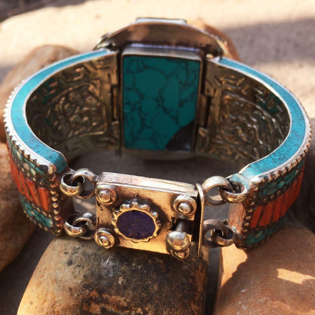 Traditional Tibetan Turquoise, Amber & Coral Bangle - 3