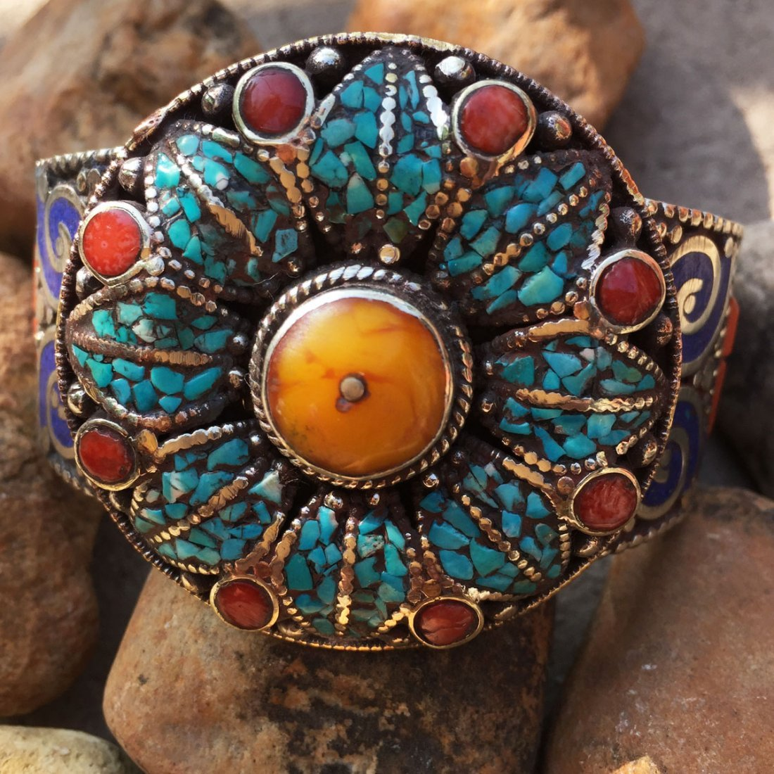 Tibetan Amber Unique Handmade Bangle