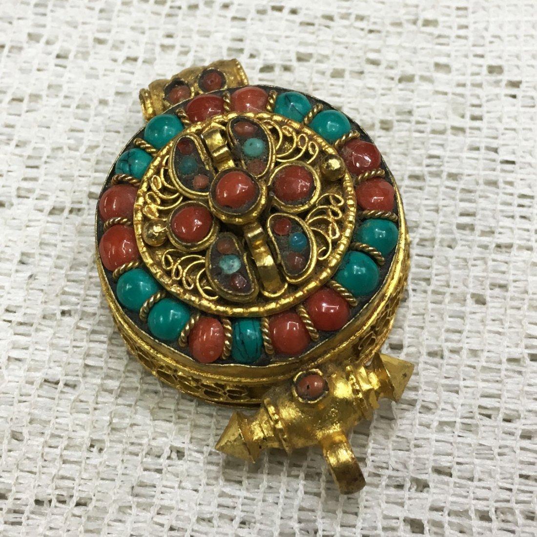 Tibetan Buddhist Fine Quality Gold Plated Ghau Gau