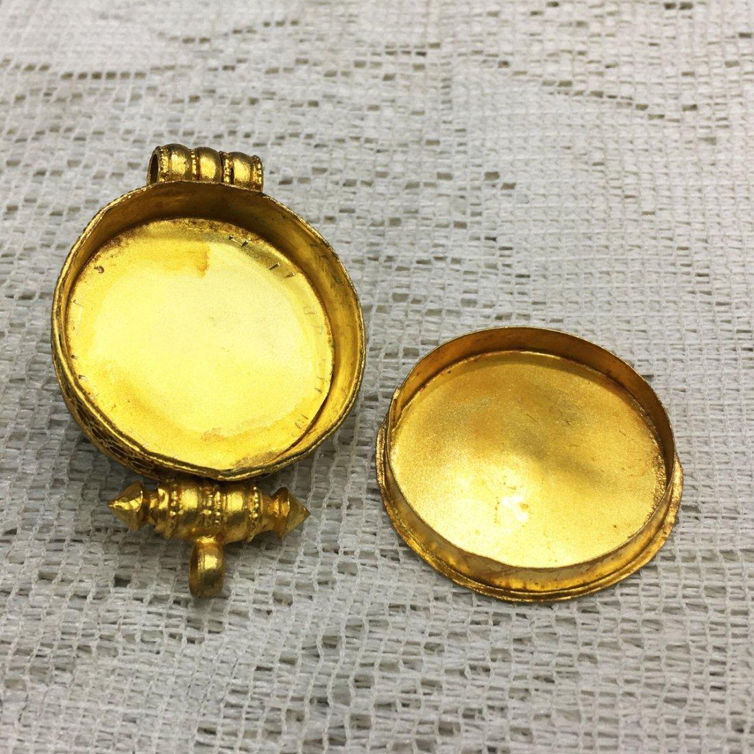 Tibetan Buddhist Fine Quality Gold Plated Ghau Gau - 3