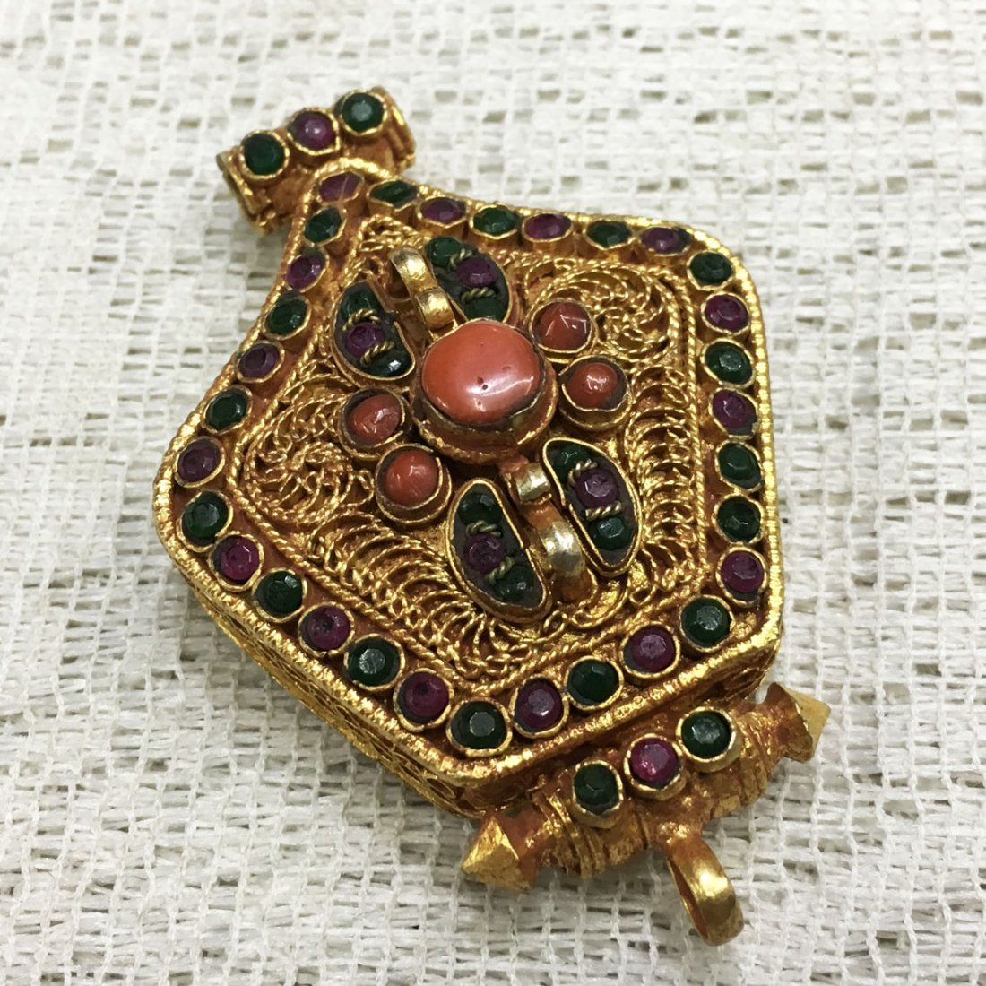 Gold Plated Copper Turquoise & Coral Tibetan Ghau