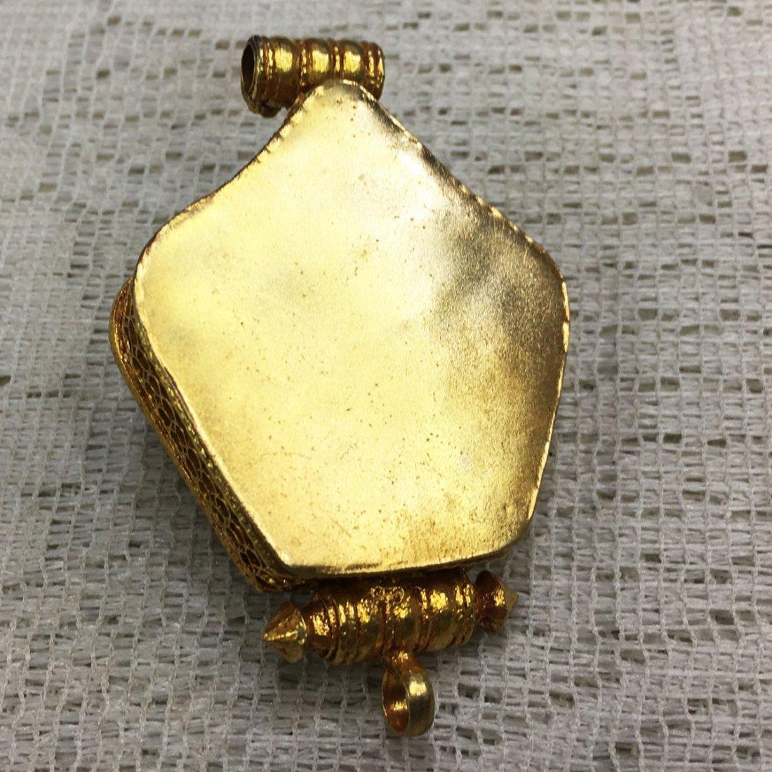 Gold Plated Copper Turquoise & Coral Tibetan Ghau - 2