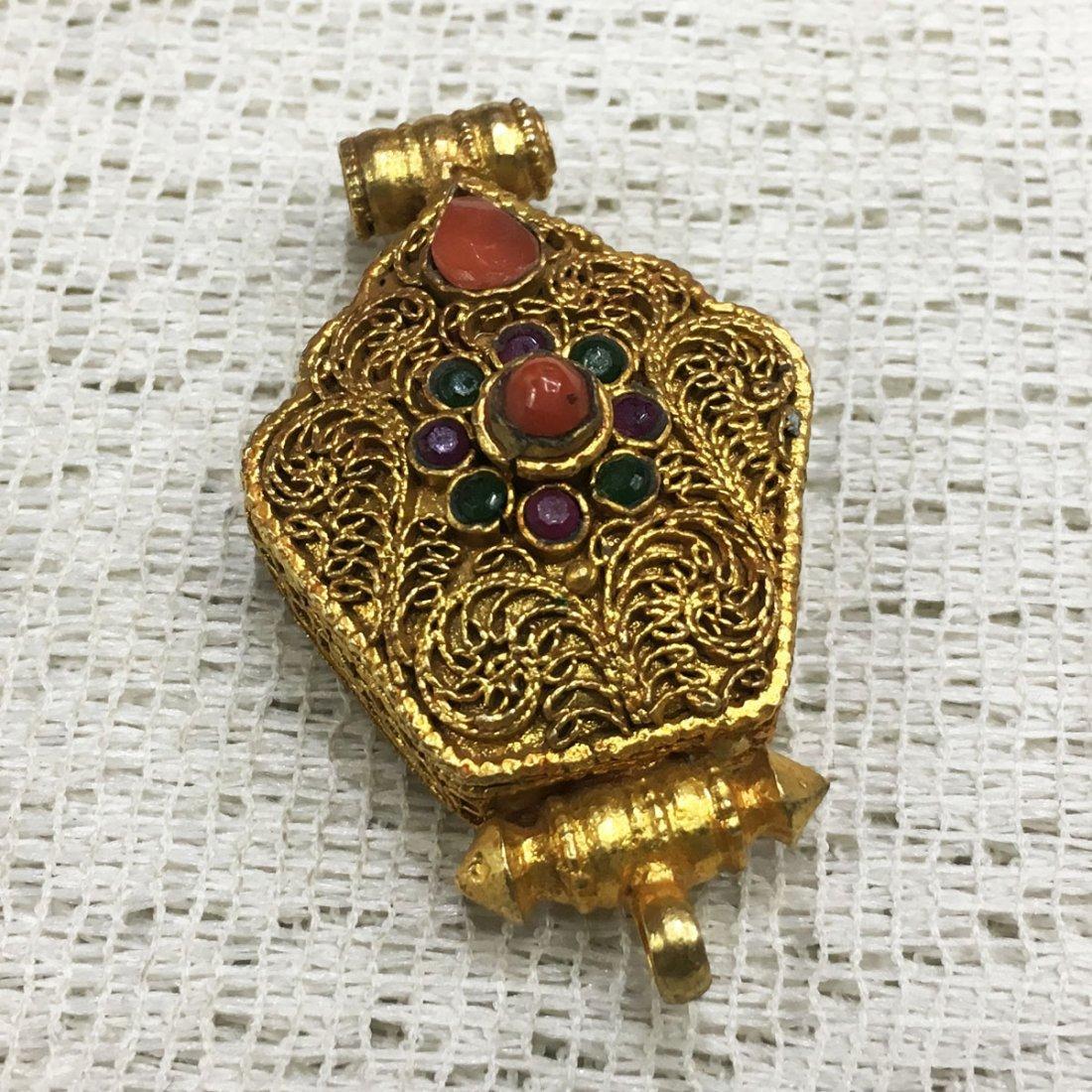 Gold Plated Copper Turquoise & Coral Tibetan Ghau