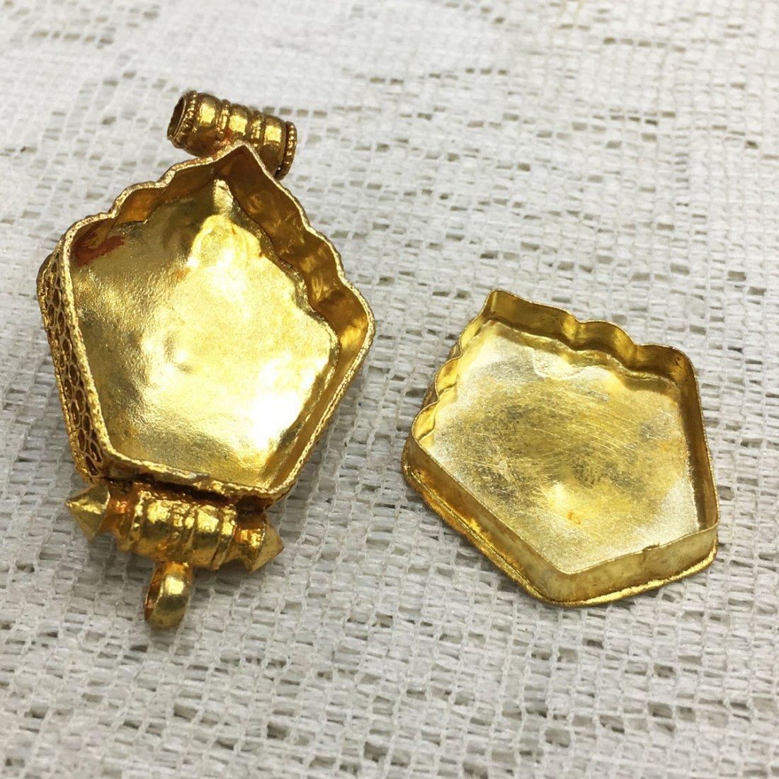 Gold Plated Copper Turquoise & Coral Tibetan Ghau - 3