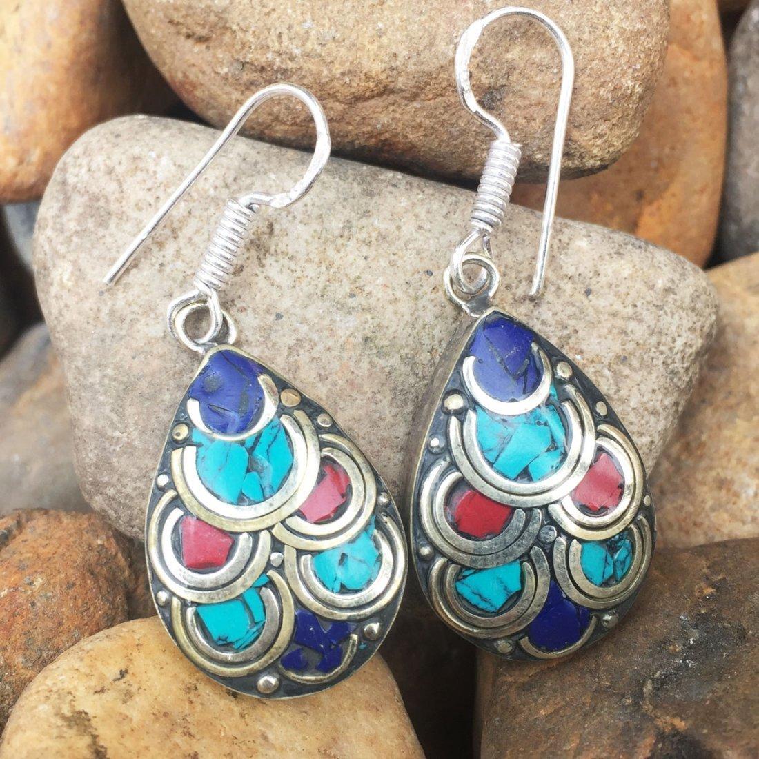 Turquoise & Lapis Gemstone Tibetan Silver Earrings