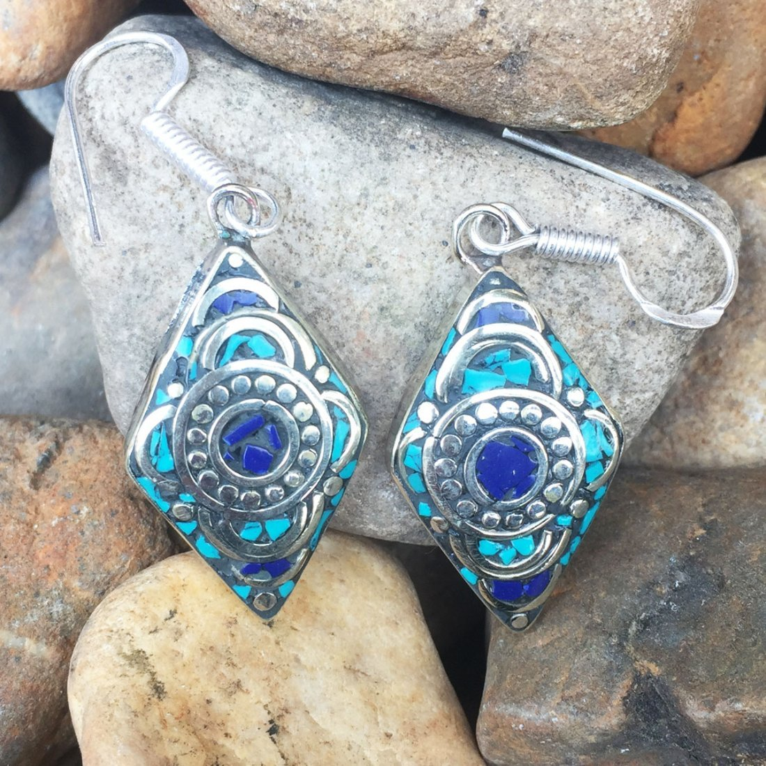 Nepalese Handmade Turquoise & Lapis Earring