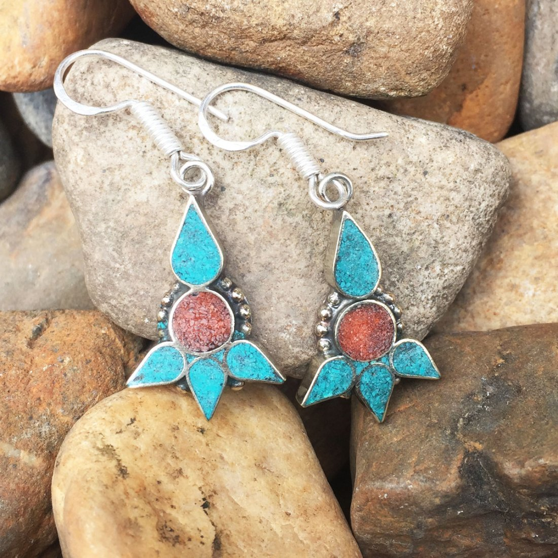 Nepalese Handmade Turquoise & Coral Earring