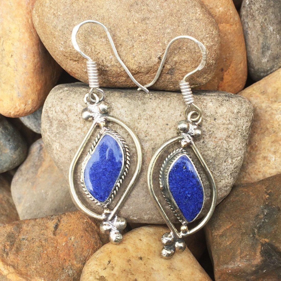 Gypsy Tibetan Designer Lapis Earring