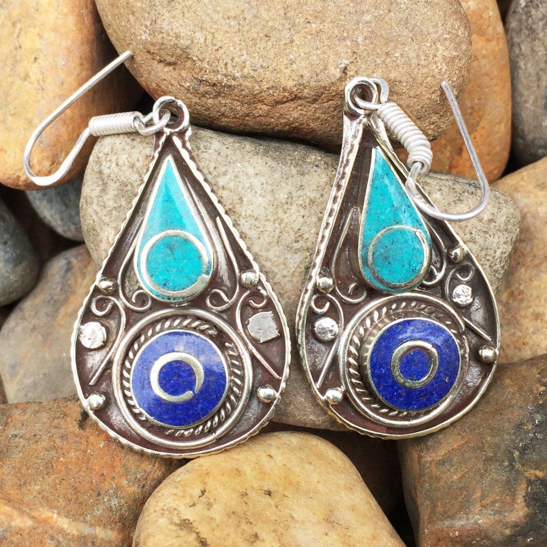 Tibetan Designer Turquoise & Lapis Handmade Earring