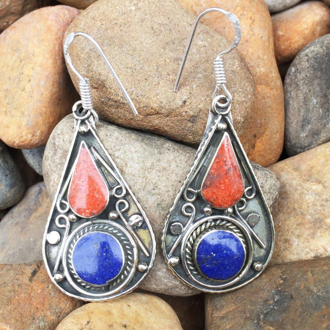Tibetan Designer Coral & Lapis Handmade Earring