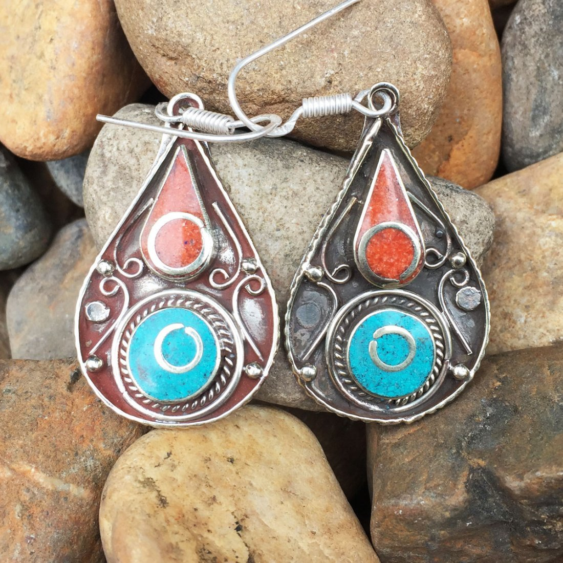 Buddhist Turquoise & Coral Vintage Earring