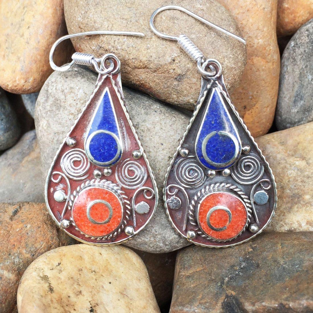 Buddhist Lapis Vintage Handmade Earring