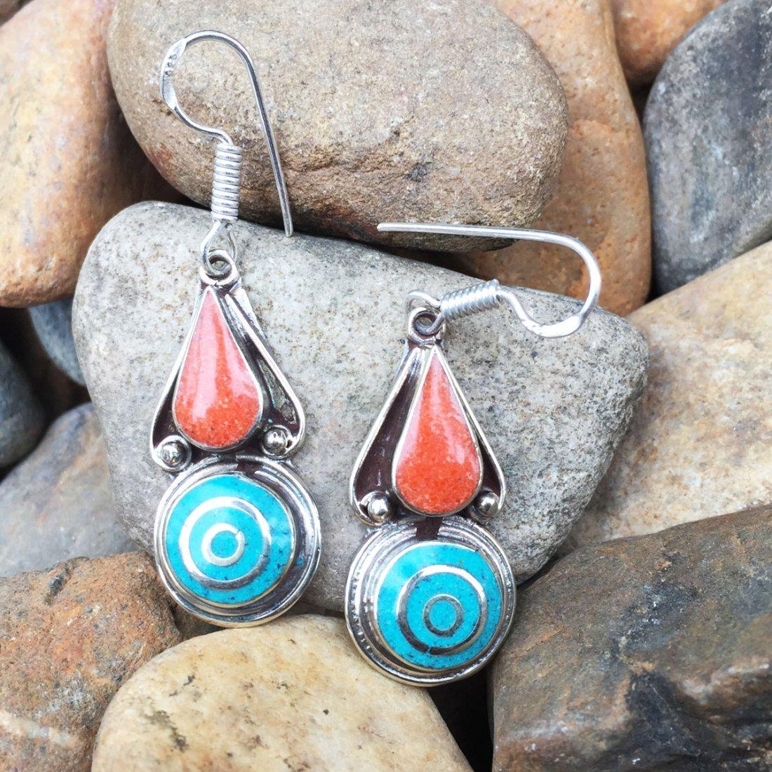 Turquoise & Coral Tibetan Handmade Earring