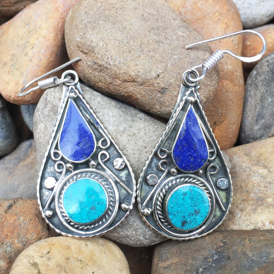 Antique Traditional Vintage Lapis Choker Earring